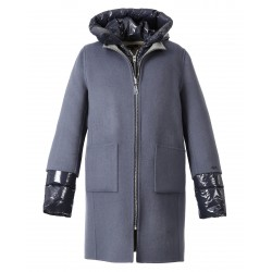 ELLIA BI (REF. 63473) PETROL BLUE/LIGHT GREY- PETROL BLUE NYLON- 4-IN-1 WOOL COAT WITH NYLON DOWN JACKET