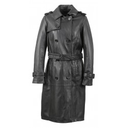 CELINA (REF. 63355) BLACK - GENUINE LEATHER TRENCH COAT