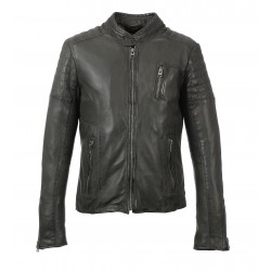 PETER (REF. 63393) DARK KHAKI - GENUINE LEATHER JACKET