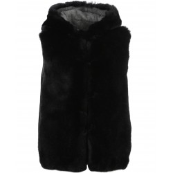 CHARMING BI (REF. 63471) BLACK/GREY - REVERSIBLE FAKE FUR AND WOOL HOOED VEST