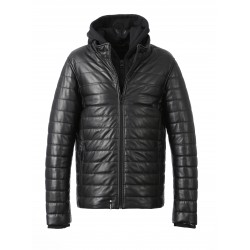MAESTRO (REF. 63493) BLACK - GENUINE LEATJER DOWN JACKET WITH REMOVABLE HOOD