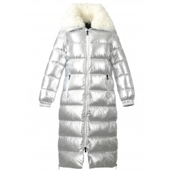 SPIRIT (REF. 63329) SILVER - NYLON LONG DOWN JACKET WITH REAL FUR COLLAR