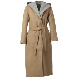 POSITANO BI (REF. 63476) COFFEE/LIGHT GREY - LONG HOODED WOOL COAT