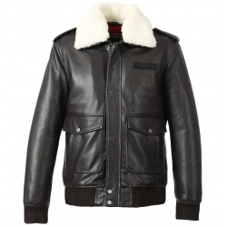 DAVY (REF. 63278) BROWN - GENUINE LEATHER AVIATOR JACKET