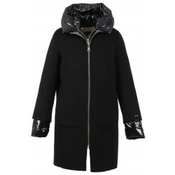 ELLIA BI (REF. 63473) BLACK/GREY- GREY NYLON- 4-IN-1 WOOL COAT WITH NYLON DOWN JACKET