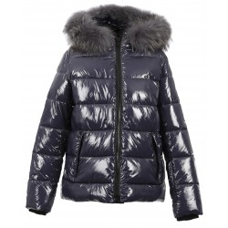 UNIVERSAL (REF. 63332) PETROL BLUE - SHINY NYLON SHORT LENGHT DOWN JACKET