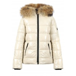 UNIVERSAL (REF. 63332) IVORY - SHINY NYLON SHORT LENGHT DOWN JACKET