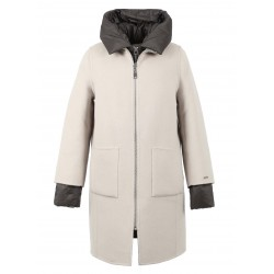 ELLIA BI (REF. 63473) IVORY/LIGHT GREY - IVORY NYLON - 4-IN-1 WOOL COAT WITH NYLON DOWN JACKET