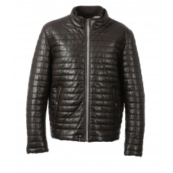 GANG (REF. 63490) CHOCOLATE - GENUINE LEATHER DOWN JACKET
