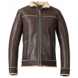PUBLIC (REF. 63339) BROWN - GENUINE LEATHER AVIATOR JACKET