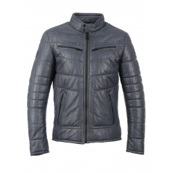 ETHAN (REF. 63090) BLUE - HIGH NECK LEATHER DOWN JACKET