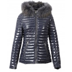 JOLIA (REF. 63325) PETROL BLUE - SHINY NYLON HOODED DOWN JACKET WITH FUR