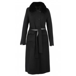 CAPRI BI (REF. 63469) BLACK/GREY - LONG REVERSIBLE WOOL COAT WITH FAKE FUR