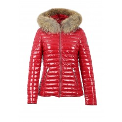 JOLIA (REF. 63325) RED - SHINY NYLON HOODED DOWN JACKET WITH FUR
