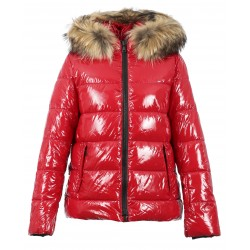 UNIVERSAL (REF. 63332) RED - SHINY NYLON SHORT LENGHT DOWN JACKET