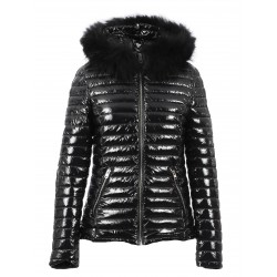 JOLIA (REF. 63325) BLACK - SHINY NYLON HOODED DOWN JACKET WITH FUR