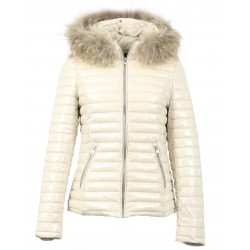 JOLIA (REF. 63325) IVORY - SHINY NYLON HOODED DOWN JACKET WITH FUR