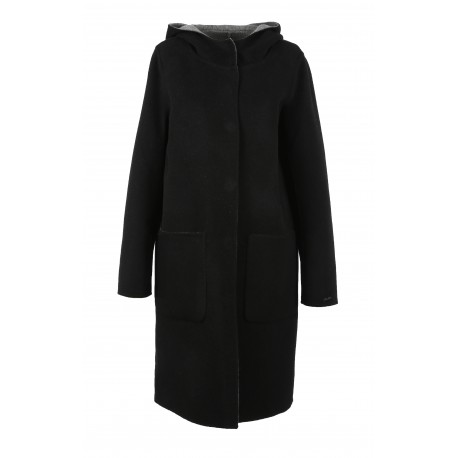 UNIVERSITY BI (REF.63102) BLACK/GREY- LONG REVERSIBLE WOOL COAT