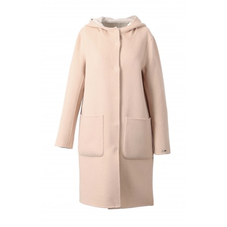 UNIVERSITY BI (REF.63102) POWDER/IVORY - LONG REVERSIBLE WOOL COAT