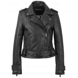 SHOW (REF. 62566) BLACK/BLACK - GENUINE LEATHER JACKET WITH BLACK FINISHES