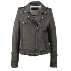 PLEASE (REF. 62988) GREY – GENUINE NUBUCK LEATHER JACKET