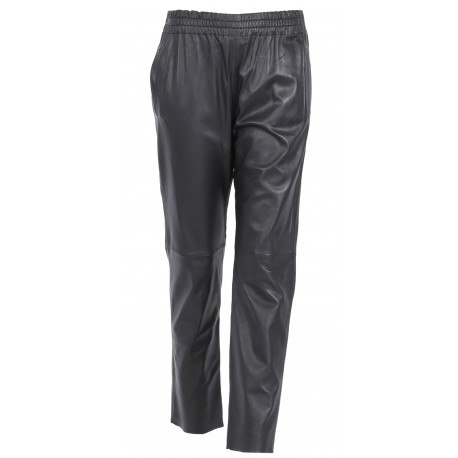 GIFTER (REF. 63554) BLACK - JOGPANTS GENUINE LEATHER WITH ELASTIC BANDWAIST