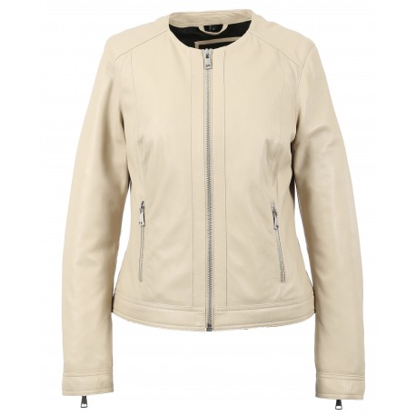 MICHELLE (REF. 63557) IVORY - GENUINE LEATHER SPENCER WITH SILVERY FINISHES