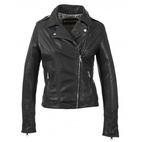 PALM (REF. 63577) BLACK - GENUINE LEATHER JACKET WITH ASYMMETRIC FASTENING