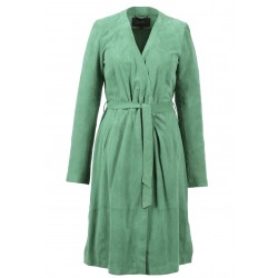 REPORT (REF. 63193) GREEN - WRAP DRESS GENUINE VELVET GOAT LEATHER