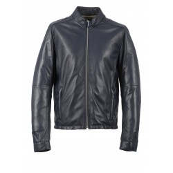RON (REF. 63597) NAVY BLUE - GENUINE LEATHER JACKET