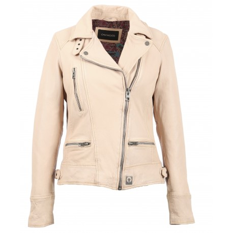 VIDEO (REF. 62065) NUDE - WASHED LOOK GENUINE LEATHER JACKET