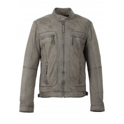 CASTEL (REF. 62983) GREY- GENUINE NUBUCK LEATHER JACKET