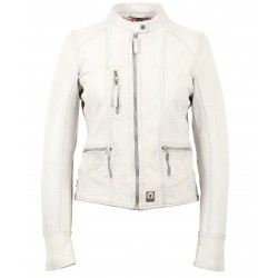 EACH (REF. 63592) WHITE - GENUINE LEATHER MANDARIN COLLAR JACKET