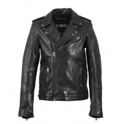CULT (REF. 63600) BLACK - GENUINE LEATHER ASSYMETRICAL JACKET