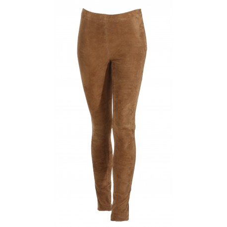 ASTEROID (REF. 61522) TOBACCO - REAL STRETCH GOAT SUEDE LEATHER TROUSERS LEGGINGS