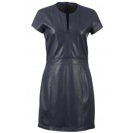 LALI (REF. 63569) NAVY BLUE - GENUINE LEATHER PENCIL DRESS