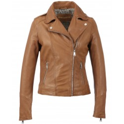 PALM (REF. 63577) COGNAC - GENUINE LEATHER JACKET WITH ASYMMETRIC FASTENING