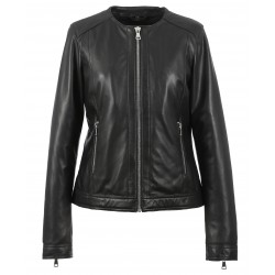 MICHELLE (REF. 63557) BLACK - GENUINE LEATHER SPENCER WITH SILVERY FINISHES