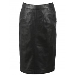 ENORA ( REF.63371) BLACK - LONG SKIRT GENUINE LEATHER