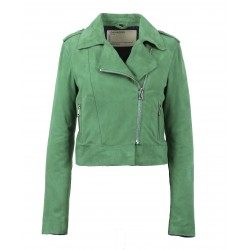 ZULINA (REF. 63637) GREEN - GENUINE GOAT SUEDE CROPPED BIKER JACKET