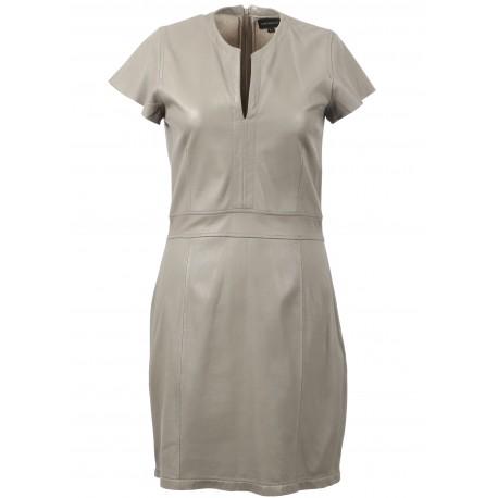 LALI (REF. 63569) MASTIC - GENUINE LEATHER PENCIL DRESS