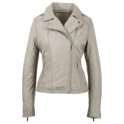 PALM (REF. 63577) GREY - GENUINE LEATHER JACKET WITH ASYMMETRIC FASTENING