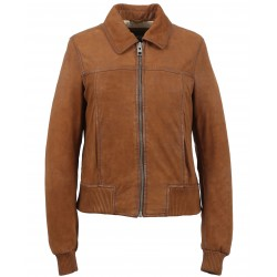 MARISKA (REF. 63620) WHISKY - GENUINE NUBUCK LEATHER JACKET