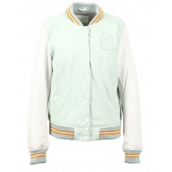 STATES (REF. 63615) PALE GREEN - GENUINE LEATHER VARSITY JACKET