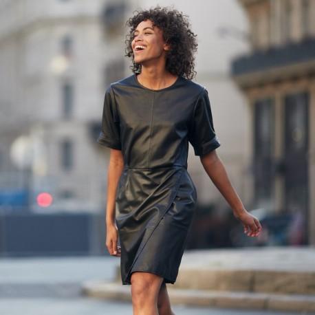 LEANDRA (REF. 63570) BLACK - GENUINE LEATHER WRAP DRESS