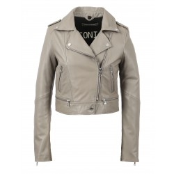 YOKO (REF. 62326) SILVER - JACKET IN GENUINE LEATHER