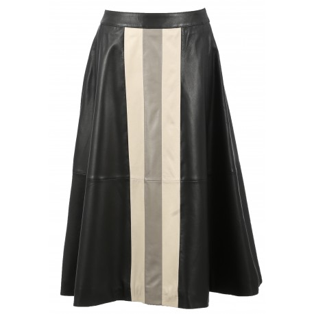 LUCILLE (REF. 63572) BLACK - GENUIINE LEATHER MIDI SKIRT COLORFUL WITH STRIPES