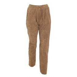 GIFT (REF. 63642) COGNAC - GENUINE SUEDE LEATHER JOGPANTS