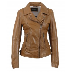 ADELE (REF. 63589) COGNAC - ASYMMETRICAL GENUINE LEATHER JACKET