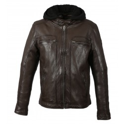 DRINK (REF. 63036) CHOCOLATE- LEATHER JACKET WITH REMOVABLE HOOD